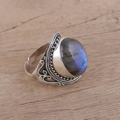 Handcrafted Labradorite and Sterling Silver Cocktail Ring