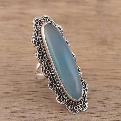 Handcrafted Chalcedony and Sterling Silver Cocktail Ring