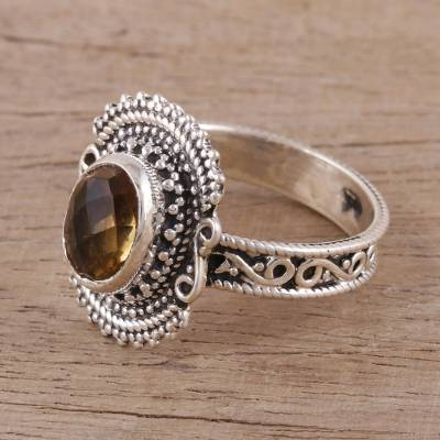 Handcrafted Oval Citrine and Sterling Silver Cocktail Ring