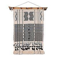 Cotton and bamboo wall hanging, 'Ecstatic Union' - Cotton and Bamboo Hand Woven Wall Hanging from India