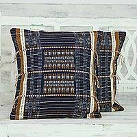 Cotton cushion covers, 'Delight of Nagaland' (pair) - Set of 2 Handmade 100% Cotton Striped Cushion Covers