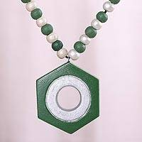Coconut shell pendant necklace, 'Mesmerizing Green' - Green and Silver Hexagon Coconut Shell Pendant Necklace