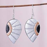 Coconut shell dangle earrings, 'Shimmering Leaves' - Silver and Copper Colored Molded Coconut Dangle Earrings