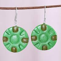 Coconut shell dangle earrings, 'Green Surrounds' - India Green Circle Molded Coconut Shell Dangle Earrings