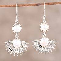 Cultured pearl dangle earrings, 'Sweetly Radiant' - Sterling Silver Round White Cultured Pearl Dangle Earrings