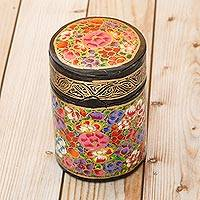 Papier mache toothpick holder, 'Floral Explosion' - Hand-Painted Multi-Colored Floral Wood Toothpick Holder