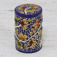 Papier mache toothpick holder, 'Chinar Delight' - Hand-Painted Blue Floral Leaves Wood Toothpick Holder
