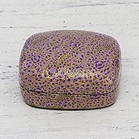 Papier mache decorative box, 'Lavender Mist' - Hand-Painted Purple and Metallic Gold Floral Decorative Box