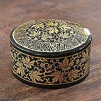 Papier mache decorative box, 'Midnight Beauty' - Hand-Painted Black and Metallic Gold Round Decorative Box