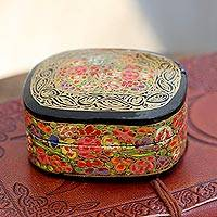 Papier mache decorative box, 'Cheerful Flare' - Hand-Painted Floral and Metallic Gold Decorative Box