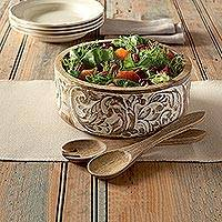 Mango wood salad bowl and server set, 'Anguri Delight' (3 piece set) - Hand Carved Mango Wood Salad Bowl and Servers