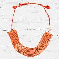 Recycled paper beaded necklace, 'Gorgeous in Orange' - Orange Multi-Strand Recycled Paper Beaded Necklace