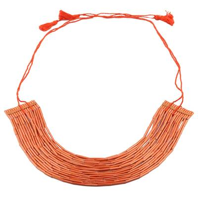 Orange Multi-Strand Recycled Paper Beaded Necklace
