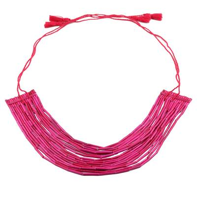 Pink Multi-Strand Recycled Paper Beaded Statement Necklace