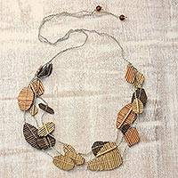 Recycled paper station necklace, 'Tale of Leaves' - Handmade Bronze Copper Gold Recycled Paper Station Necklace