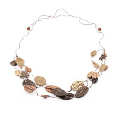 Handmade Bronze Copper Gold Recycled Paper Station Necklace
