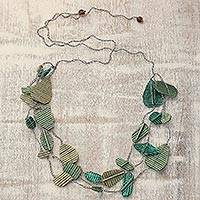 Recycled paper station necklace, 'Saga of Leaves' - Handmade Green and Gold Recycled Paper Station Necklace