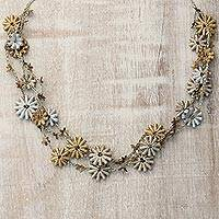 Recycled paper station necklace, 'Petal Harmony' - Golden Silver Recycled Paper Floral Beaded Station Necklace