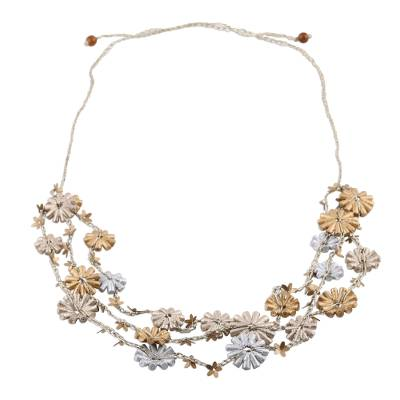 Golden Silver Recycled Paper Floral Beaded Station Necklace