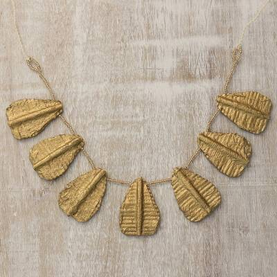 Recycled paper pendant necklace, 'Golden Leaves' - Handcrafted Recycled Paper and Glass Bead Pendant Necklace