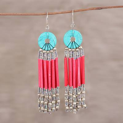 Recycled paper and glass waterfall earrings, 'Descending Red' - Red Disc and Recycled Paper Beaded Chandelier Earrings