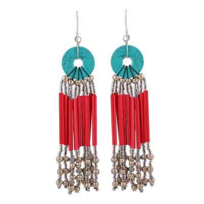 Red Disc and Recycled Paper Beaded Chandelier Earrings