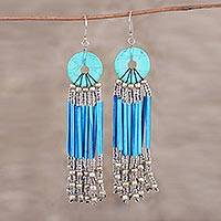 Recycled paper and glass waterfall earrings, 'Descending Blue' - Blue Disc and Recycled Paper Beaded Chandelier Earrings