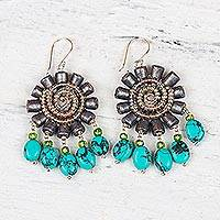 Featured review for Recycled paper and glass beaded dangle earrings, Floral Twirl