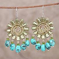 Recycled paper and glass beaded dangle earrings, 'Green Floral Twirl' (India)