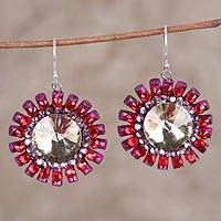 Recycled paper beaded dangle earrings, 'Exquisite Daisy' - Handmade Recycled Paper Glass Bead Dangle Earrings