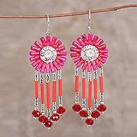Recycled paper beaded dangle earrings, 'Pink Fusion' - Handcrafted Hot Pink Recycled Paper Glass Beaded Earrings