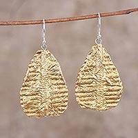 Recycled paper dangle earrings, 'Luminous Leaves' - Handcrafted Golden Leaves Recycled Paper Dangle Earrings