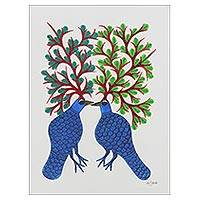 Gond painting, 'Song of Spring' - Folk Art Gond Painting of Two Tree Birds from India