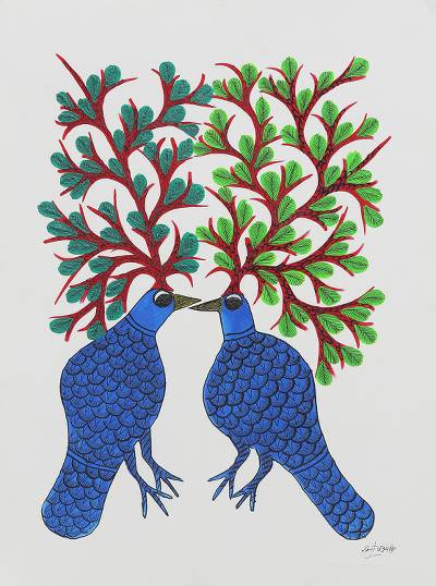 Folk Art Gond Painting of Two Tree Birds from India