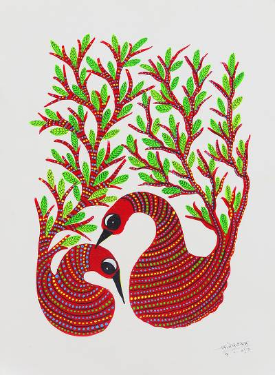 Indian Gond Painting of Two Red Swans from India