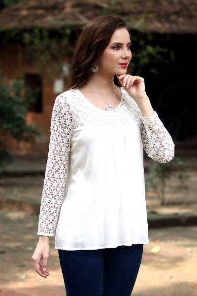 Lace-trimmed rayon blouse, 'Daisy Snow' - Crocheted Daisy Shoulder and Sleeve Snow White Rayon Blouse