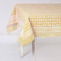 Cotton tablecloth, 'Wildflower Parade in Yellow' - White and Honey Yellow Hand Block Print Cotton Tablecloth