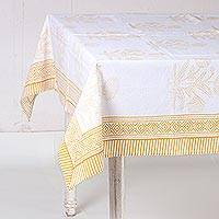 Cotton tablecloth, 'Dahlia Elegance in Amber' - White and Amber Dahlia Hand Block Print Cotton Tablecloth