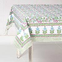 Cotton tablecloth, 'Joyous Blooms' - Pink and Blue on White Floral Block Print Cotton Tablecloth