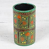 Papier mache pencil holder, 'Spring Fascination' - Hand-Painted Floral Papier Mache Pencil Holder from India