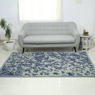 Hand-tufted wool area rug, Blue Majestic Garden (5x8)