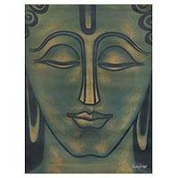 'Prince of Peace' - Signed Expressionist Painting of Buddha from India