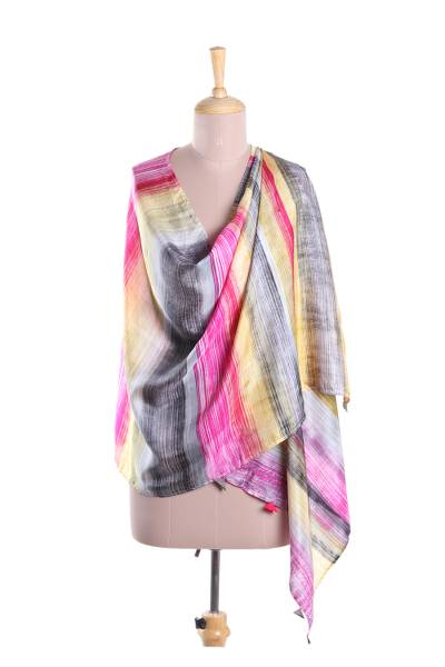 Silk shawl, 'Dramatic Day' - Fuchsia and Multi-Color Striped Hand Printed 100% Silk Shawl