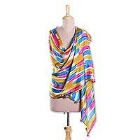 Silk shawl, 'Prismatic Rays' - Strokes of Mixed Bright Colors Hand Printed 100% Silk Shawl