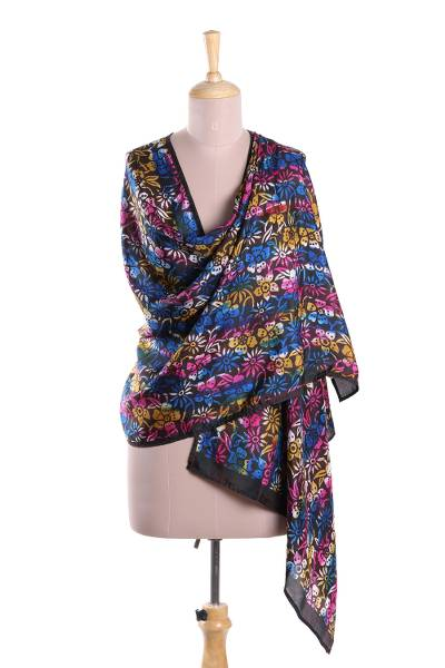 Silk shawl, 'Kaleidoscope Garden' - Multi-Color Floral on Black Hand Printed 100% Silk Shawl