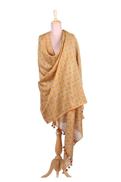 Cotton and silk blend shawl, 'Saffron Delight' - Cotton Silk Blend Saffron Delight Hand Block Print Shawl