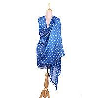 Cotton and silk blend shawl, 'Floating Leaves' - Blue Cotton and Silk Blend Floating Leaf Block Print Shawl