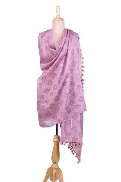 Cotton and silk blend shawl, 'Floating Bubbles' - Pink Cotton and Silk Floating Bubble India Block Print Shawl