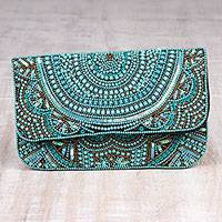 Beaded silk clutch, 'Turquoise Glamour' - Turquoise Beaded and Sequined Silk Evening Clutch from India