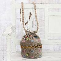 Velvet bucket bag, 'Beaded Boho' - Embellished Beige Velvet Bucket Cinch-Top Shoulder Bag